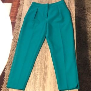 ASOS Teal Cropped Pleated Pants size 2